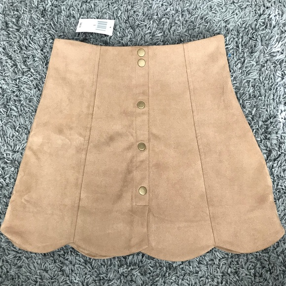 HYFVE Dresses & Skirts - Scalloped Suede Camel Skirt -Dry Goods